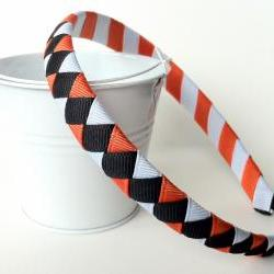 Halloween Headband:  black orange white half inch wide band